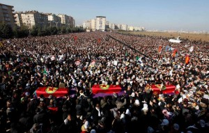 Mass funeral rally in Diyarbakir today
