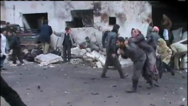 Syrian regime air strike on a bakery