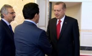 Mula Bakhtiar (left) and Kosrat Rasul meet with Turkey's PM Erdogan