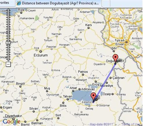 Van to Dogubeyazit is 180 km
