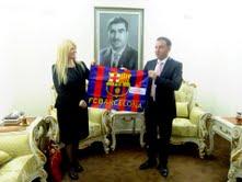 Raising the Barca flag