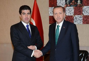 Kurdish Prime Minister Nechirvan Barzani and his Turkish counterpart Erdoğan