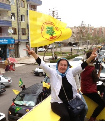 A victory salute on the BDP campaign bus