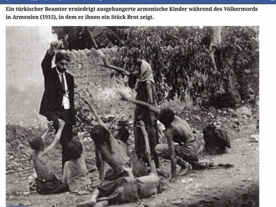 The photo was taken by the German eyewhitness of genocide, Armin T. Wegner It shows an Ottoman state servant humiliating Armenian children being close to starve by presenting them a loaf of bread.