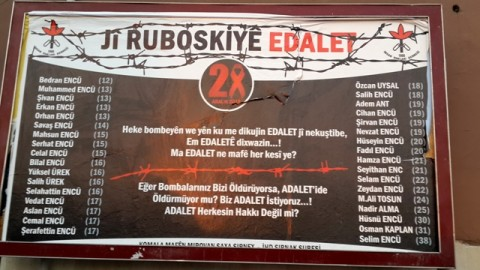 Poster in Sirnak listing names of 34 victims of Roboski massacre ...