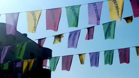 Selahattin Demirtaş  campaign flags criss-cross the streets