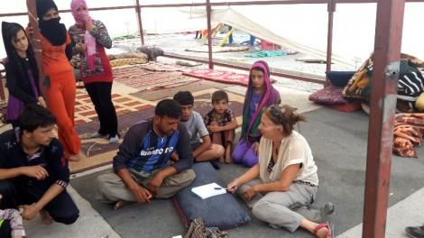 Amy Beam meets with Yezidis in Roboski School Sept 4