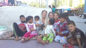 Amy Beam with Ezidi children at Hilal School, Turkey, Sept 4, 2014
