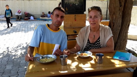 Ido, Ezidi camp translator, with Amy Beam, Hilal school