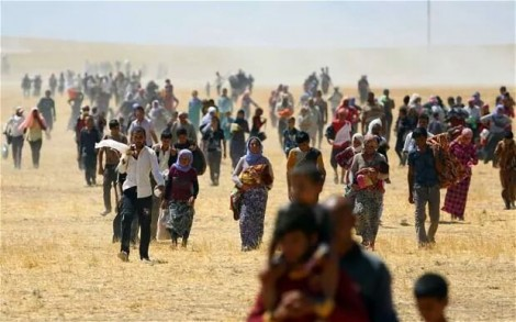 Aug 3-4, Yezidis flee from their villages to Sinjar (Shengal) Mountain