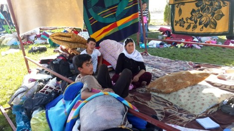 Yezidis living in tent made of blankets in Bismil, Turkey, Sept 12, 2014