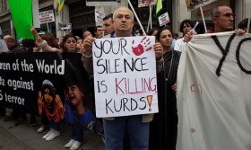 Kurds and supporters protest in London; Pic - urban75.org/