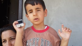 Waleed Khaled Murad, age 4, was born blind.