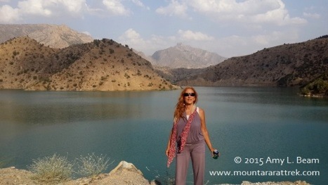 Amy L. Beam, owner of Mount Ararat Trek, is possibly the first person to swim in man-made Hilal Lake in 2013.