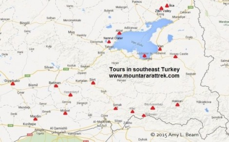 Suggested driving tour through southeast Turkey by Mount Ararat Trek.