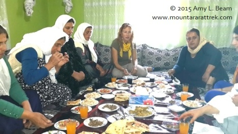 Amy Beam shares meal with mothers of Roboski victims.