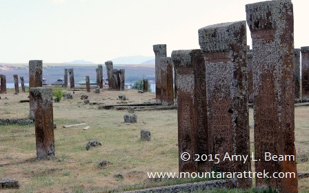 Old Armenian tomb stones in Ahlat on west shore of Lake Van.