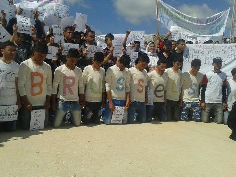 Yazidis in Nusaybin camp in solidarity with Brussels demo