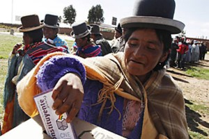 Bolivians vote for a new constitution, 2009
