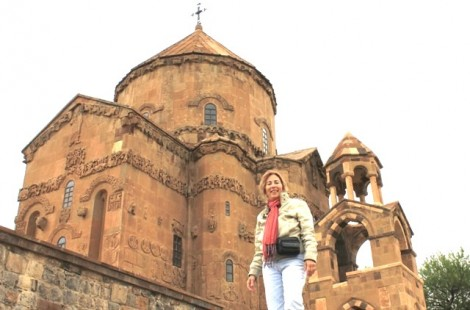Amy Beam in front of 10th century Armenian church on Lake Van, Turkey