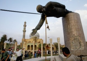 Saddam statue pulled down, April 2003