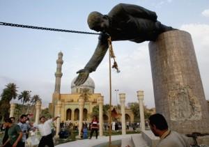 Saddam statue pulled down, April 2003