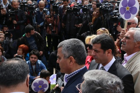 Sarafian and Demirtaş at the April 24th rally in Diyarbakir. Photo taken by John Lubbock.
