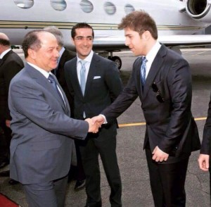 Family trip? Presdient Barzani is greeted by his son and grandson