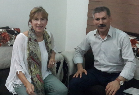 Amy L. Beam discusses Yezidi situation with Gharib Hassou, PYD rep to Kurdistan