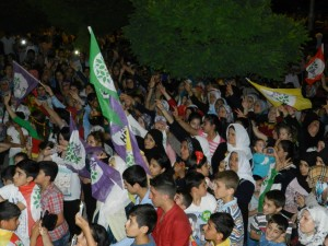 Supporters at an HDP election rally in Gazientep tonight
