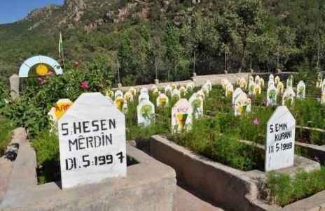Turkish missiles struck the entrance to this PKK martyrs cemetery in Barwar Bala.