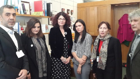 (left to right) Jemal Bailoz Shaveshyan, Gian Aldonani, Hon. Diana Johnson UK MP, Salwa Khalaf Rasho, Amy L. Beam, Eilian Williams