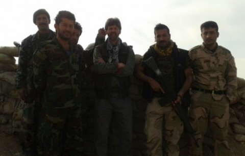 The author with Peshmerga soldiers at Checkpoint Demoocratic, Bashtiq, near Mosul