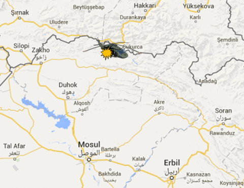 Location of the downed Turkish military helicopter