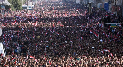 Protest against corruption, called by Muqtada al-Sadr, Tahir Square, Baghdad, February 2016