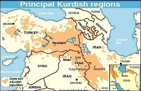 The division of Kurds after Sykes-Picot Source: Wikimedia