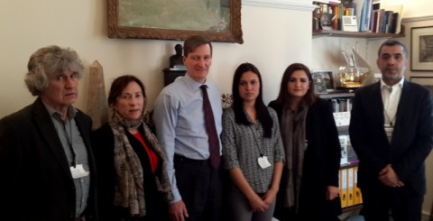 Hon. Dominic Grieve QC MP (center) between Amy L Beam and Saloa Khalaf Rasho