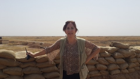 Amy L. Beam on Peshmerga Special Forces front line southwest of Shingal city