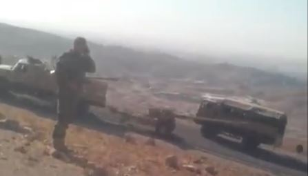 Peshmerga trucks blocking the road for civilians to flee Shingal, August 3, 2014