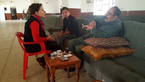 Amy L. Beam discussing Shingal attack with Commander Qassim Shesho