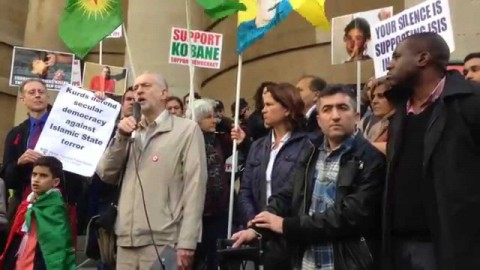 Jeremy Corbyn speaking at a rally in support of Kobane
