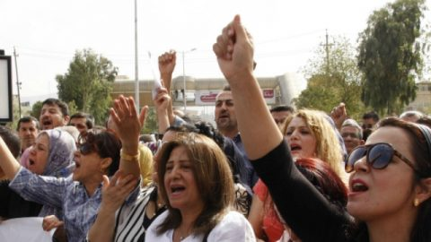 Teachers and civil servants protest over late payment of salaries by the KRG, October 2014