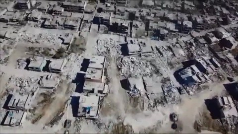 Drone footage showing destruction of Kurdish city of Nusaybin this year following bombardments by Turkish forces
