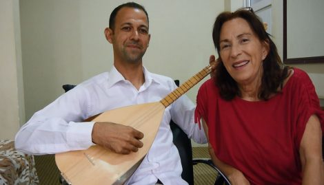 Barakat Ali, tambur musician from Khanasor, Shingal, with human rights activist Amy L Beam