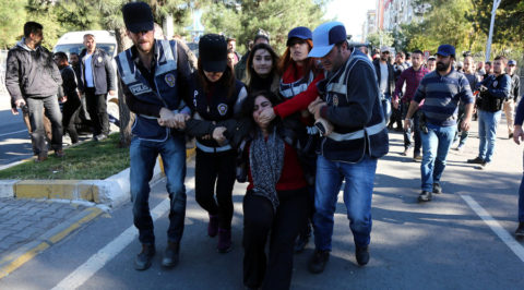 Police detain Sebahat Tuncel, co-chair of the pro-Kurdish Democratic Regions Party