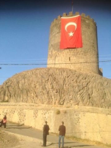Huge Turkish flag now hangs from old city walls, Sur