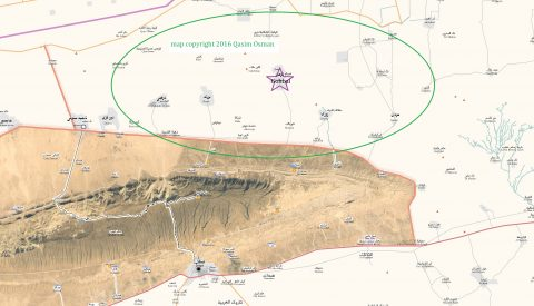 map copyright 2016 by Qasim Osman, green oval shows approximate location of Sheikh Khalaf's land (not to scale), purple star is Gohbal